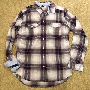 Eddie Bauer Lightweight Button Down Purple Plaid L
